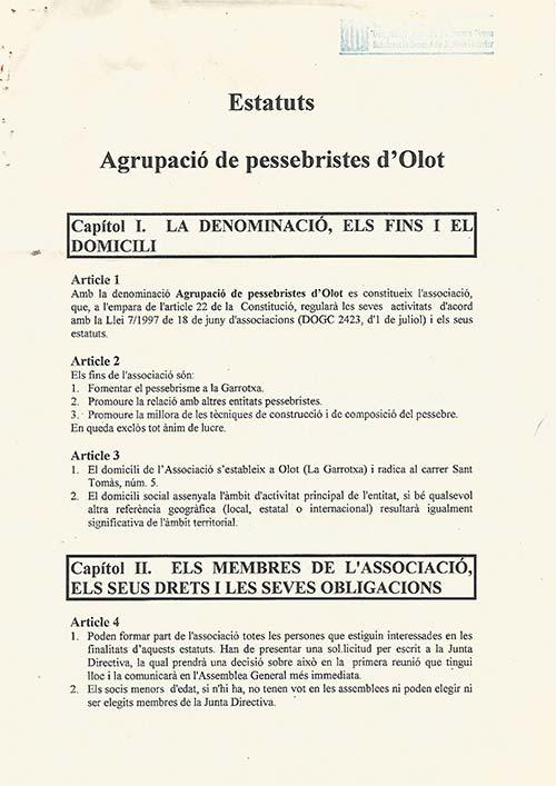 Estatuts fundacionals de l'Associacio de Pessebristes d'Olot