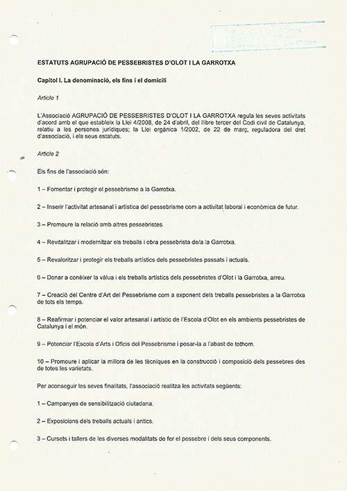 Estatuts 2013 de l'Associacio de Pessebristes d'Olot